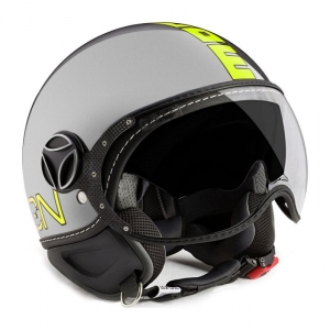 CASQUE JET MOMO DESIGN FIGHTER EVO 3 METAL GREY FLUO JAUNE