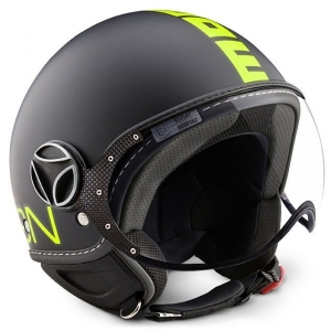 CASQUE JET MOMO DESIGN FIGHTER JAUNE FLUO MAT NOIR