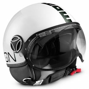 CASQUE JET MOMO DESIGN FIGHTER BLANC NOIR CLASSIC