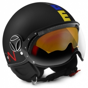 CASQUE JET MOM DESIGN FIGHTER EVO 3 SERIE SPECIALE NOIR ROUGE BLEU JAUNE